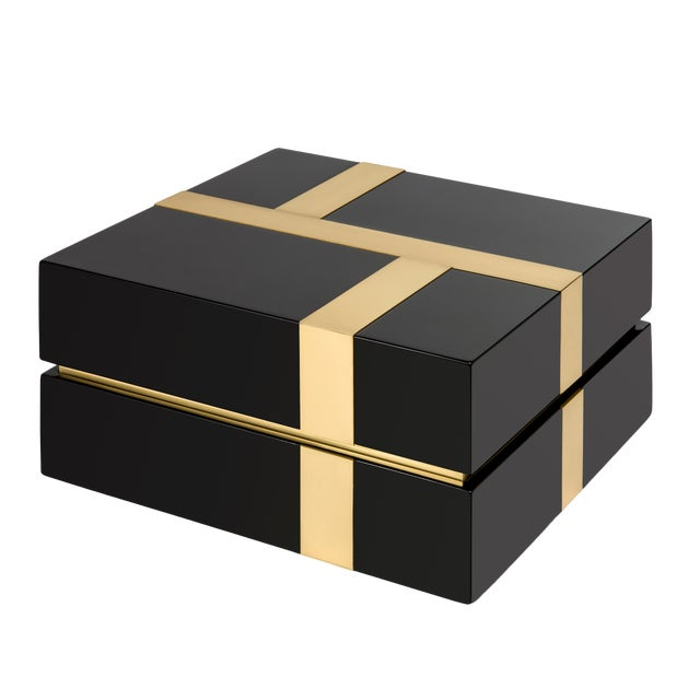 Not Yet Made - Made To Order Flair Collection Righe Box in Black / Brass For Sale - Image 5 of 5