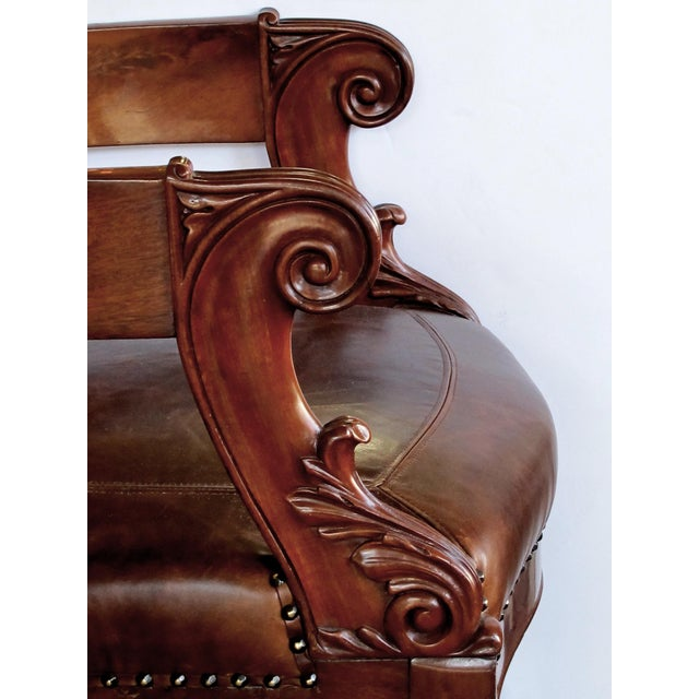 French Restoration Carved Mahogany Barrel-Back Desk Chair With Acanthus Leaves For Sale - Image 4 of 9