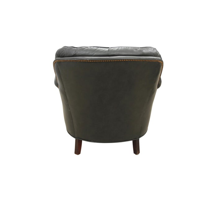 Midcentury Green Leather Armchair and Ottoman - Image 8 of 10