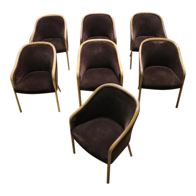 Mid-Century Modern Walnut & Mohair Dining Chairs - Set of 7 - Image 1 of 10