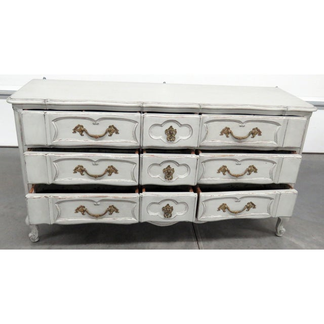 White 20th Century French Country Painted Decorated Dresser For Sale - Image 8 of 10