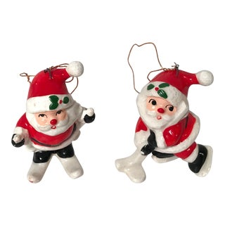 20th Century Americana Fitz & Floyd Santa Ornaments - a Pair For Sale