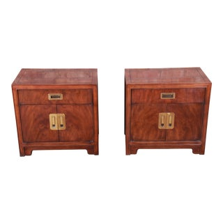 Drexel Heritage Hollywood Regency Chinoiserie Campaign Style Nightstands - a Pair For Sale