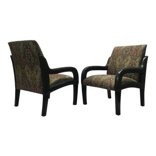Modern Addison Interiors Amalfi Open Arm Chairs- A Pair For Sale