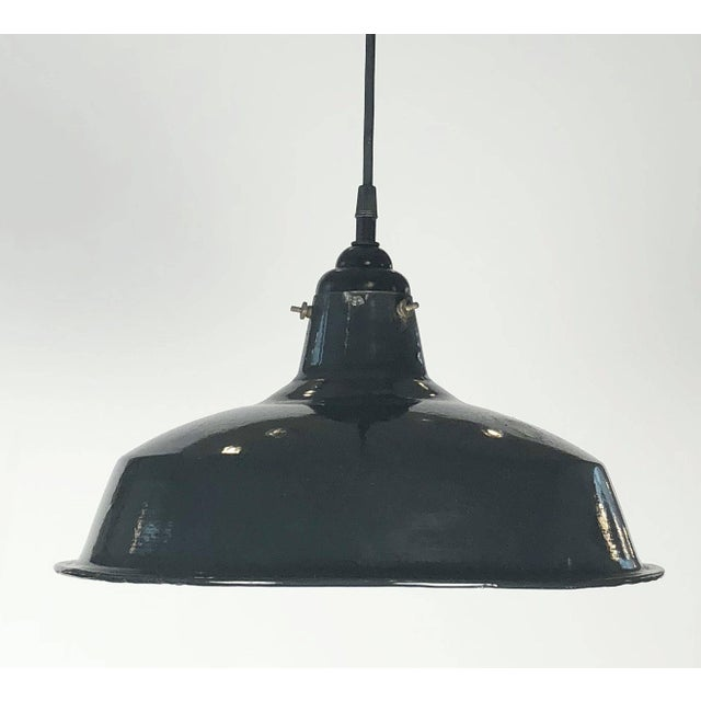 """Metal Black Tole Industrial Hanging Lamps or Lanterns from England (14 1/4"""" Diameter) For Sale - Image 7 of 11"""