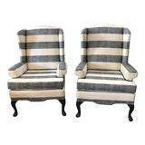 Image of Vintage Wingback Chairs With New Wide Stripe Upholstery - a Pair For Sale