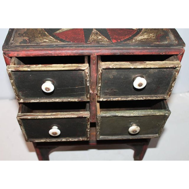 19th Century Original Paint Decorated Tabletop Apothecary Cabinet - Image 5 of 8