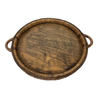 Large Round Braided Rattan and Wood Tray For Sale