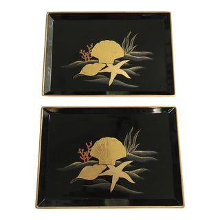 Mid-Century Otagiri Lacquerware Shell Motif Trays - Made in Japan - a Pair For Sale