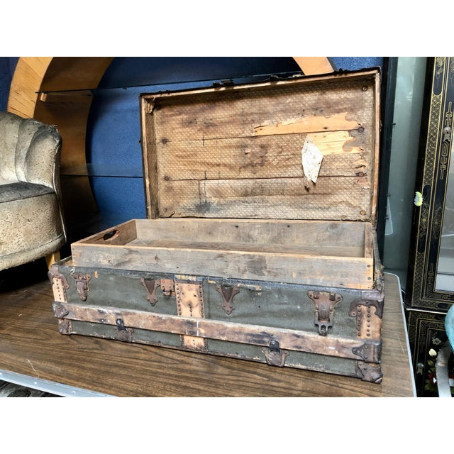 Metal Vintage P & S Co. Wood Leather and Metal Trunk For Sale - Image 7 of 11