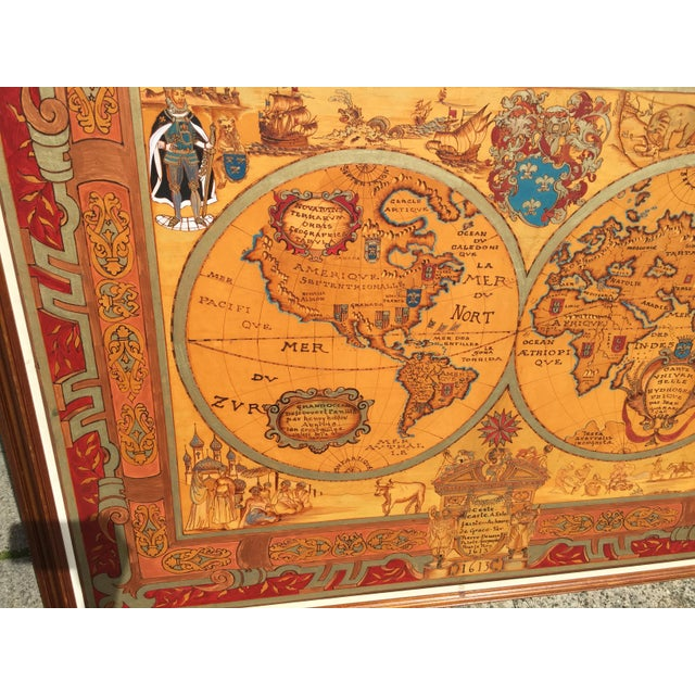 """Hand painted Large oversize map of the world . 20 the Century copy from a 17th century map this measures 64"""" wide x 50.5""""..."""