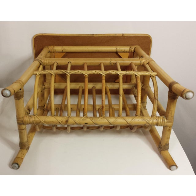 Tan Vintage Mid Century Bamboo Rattan Magazine Rack Side Table For Sale - Image 8 of 8