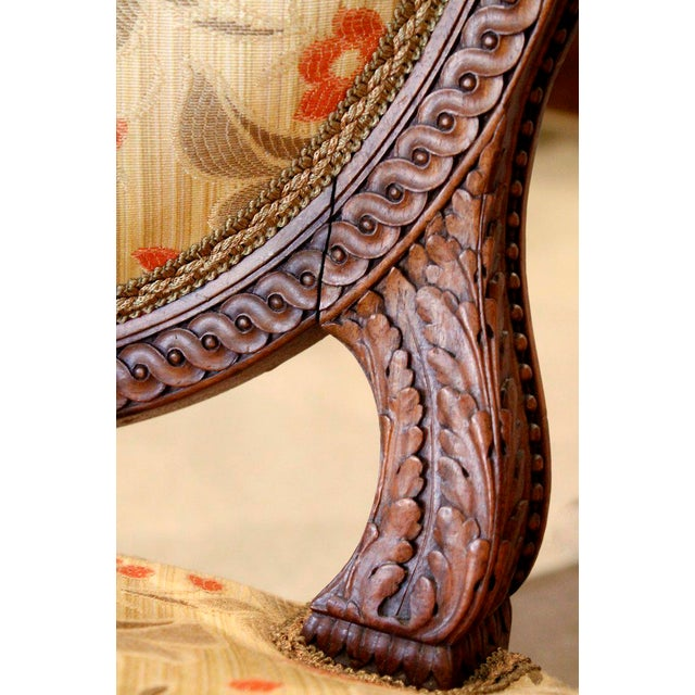 Late 19th Century Louis XVI Style Neoclassical Carved Armchairs - a Pair For Sale - Image 5 of 10