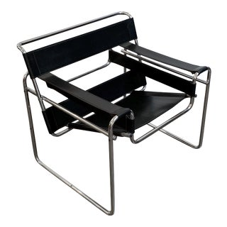 Wassily Style Leather Chair in the Manner of Marcel Breuer For Sale