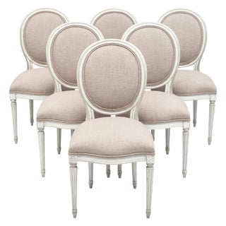 Louis XVI Style Antique Dining Chairs - Set of 6 For Sale