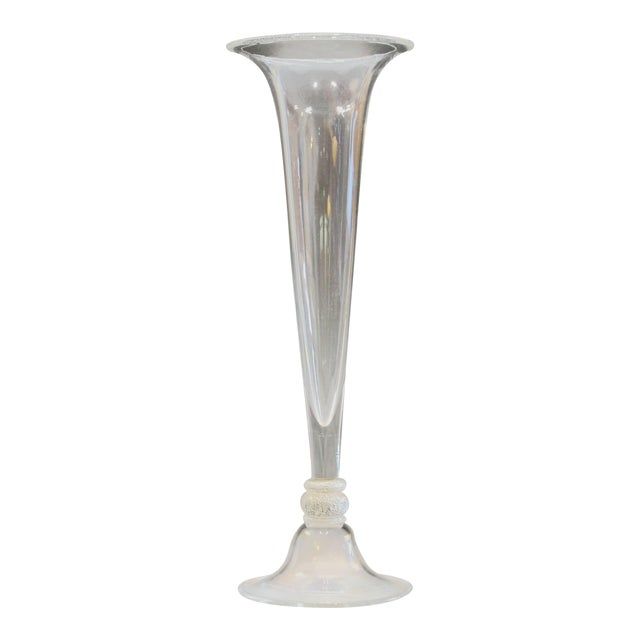 Seguso Vetri d'Arte Tall Trumpet Form Murano, 1950s Signed Silver Center Vase For Sale