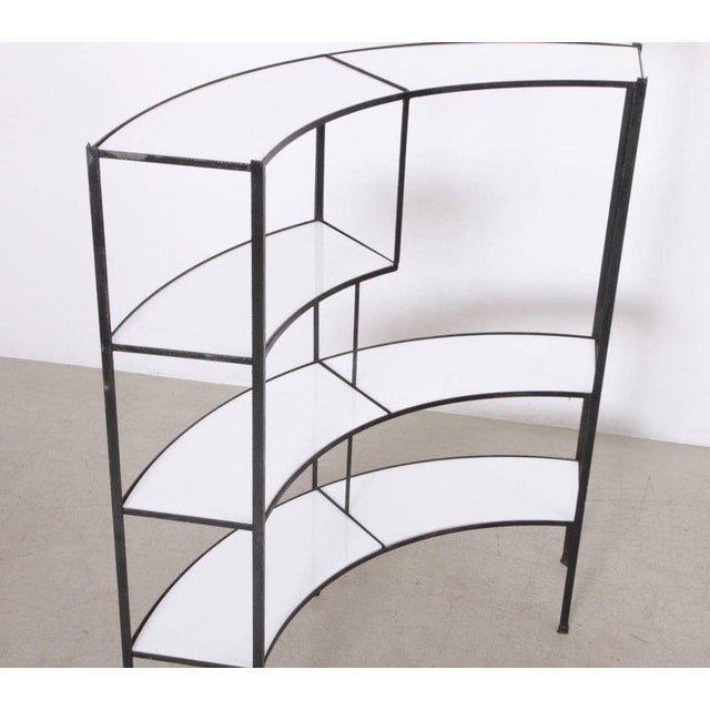 Frederick Weinberg Black and White Vitrolite Glass Wrought Iron Shelf by Frederick Weinberg For Sale - Image 4 of 6