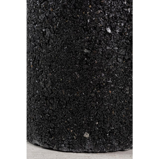 Hand Made Tourmaline and Black Plaster Tall Drum, Side Table by Samuel Amoia For Sale - Image 12 of 13