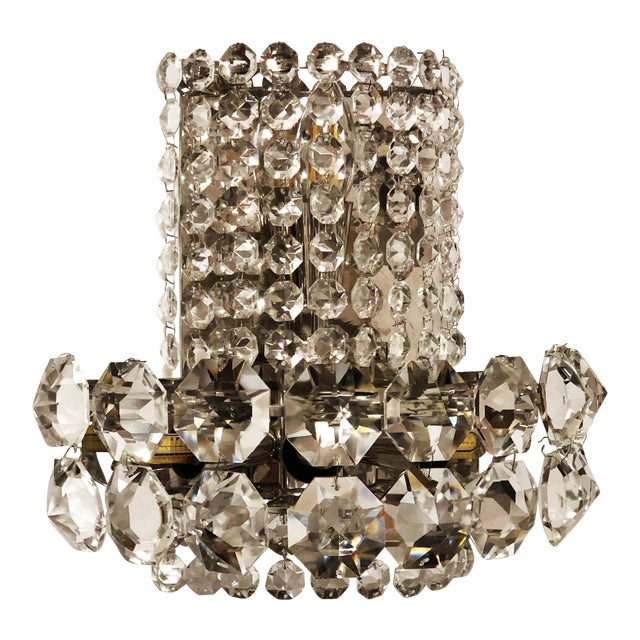 Pair of Large Crystal Sconces by Bakalowits and Sohne For Sale