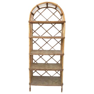 French Midcentury Bamboo Étagère With Five Bamboo Shelves For Sale