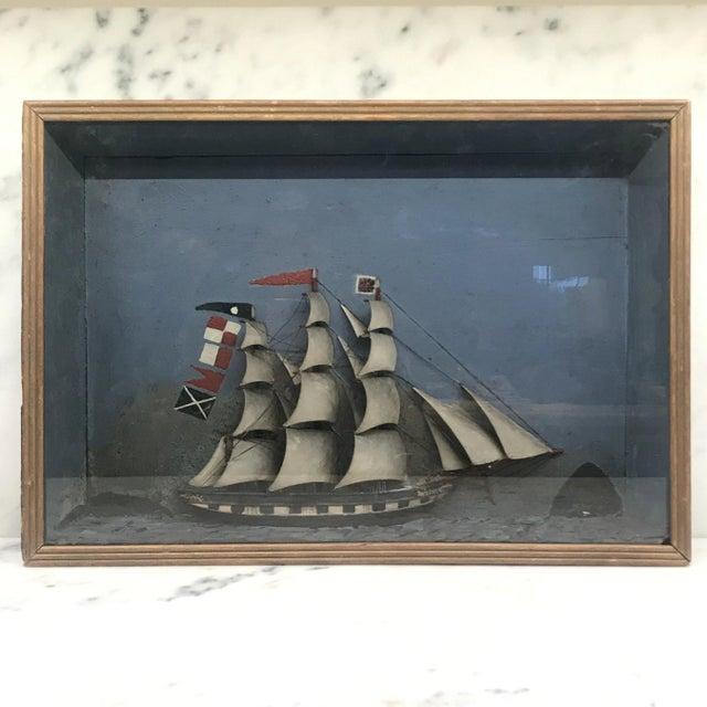 Folk Art Shadowbox Ship Diorama of a Three Masted Schooner For Sale - Image 10 of 10
