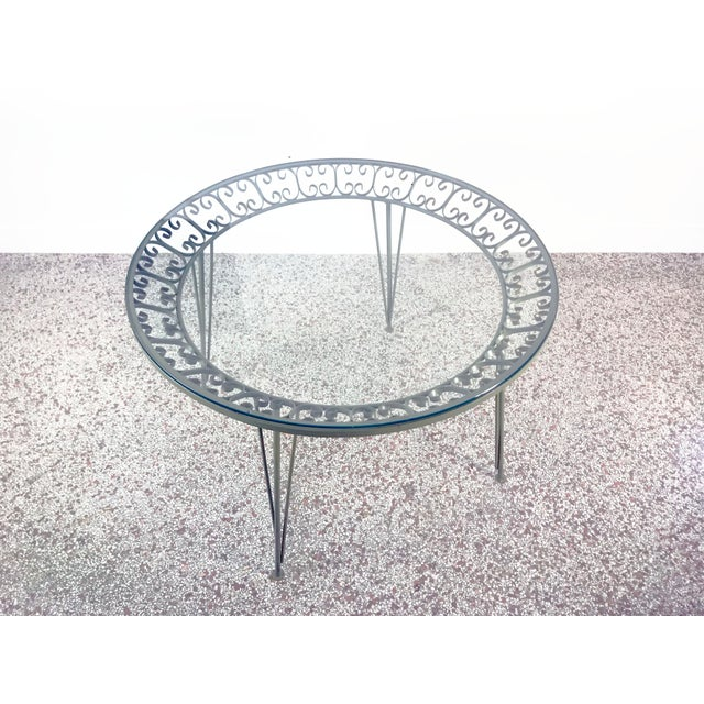 1960s Mid-Century Modern Arthur Umanoff Grenada Wrought Iron Outdoor Dining Table For Sale - Image 12 of 13