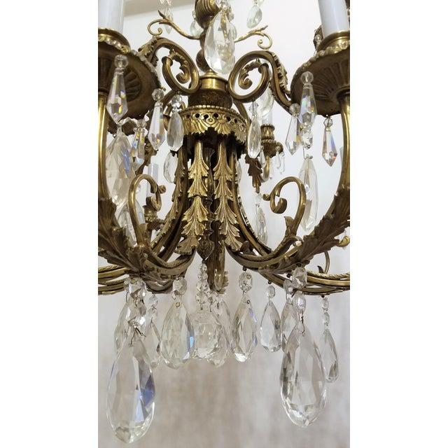 1920s Louis XVI Bronze & Crystal 12 Lights Chandelier For Sale - Image 4 of 10