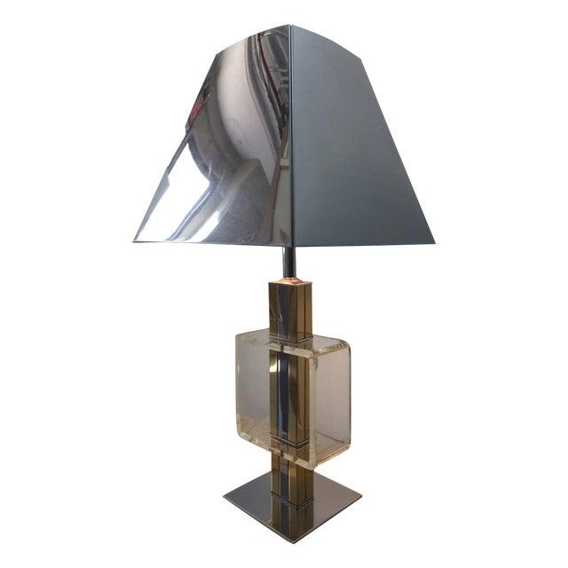 Charles Hollis Jones Brass Chrome & Lucite Lamp - Image 1 of 4