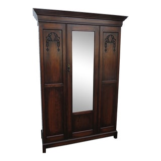 Early 1900s Hand Carved Solid Oak Armoire Wardrobe For Sale