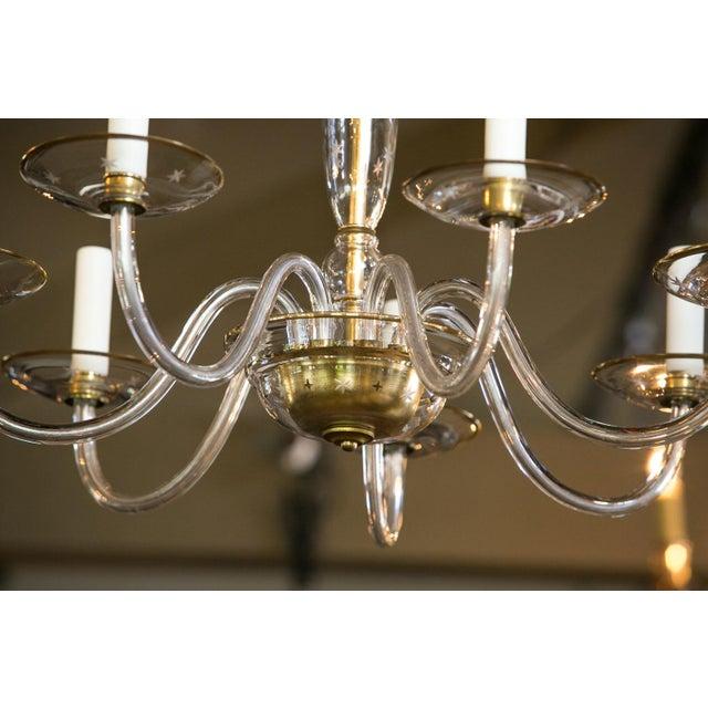 Italian Italian Clear Glass Chandelier For Sale - Image 3 of 8