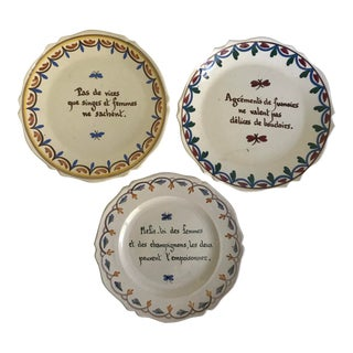 Antique French Patriotic Hand-Painted Pottery Plates - Set of 3 For Sale