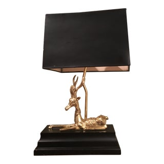 Frederick Cooper Brass Stag Desk Lamp With Shade For Sale
