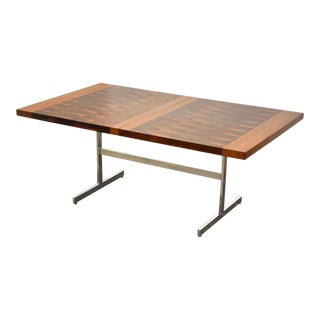 Rosewood and Chrome Mid-Century Modern Dining Table For Sale