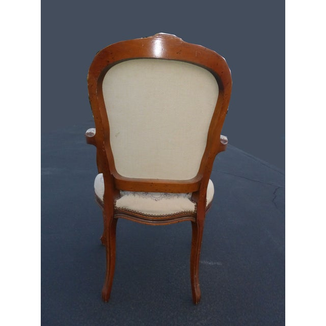 French Provincial Tapestry Ornate Carved Arm Chair For Sale - Image 5 of 10