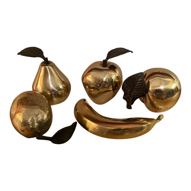 Vintage 1990s Brass Fruit - 5 Pieces For Sale