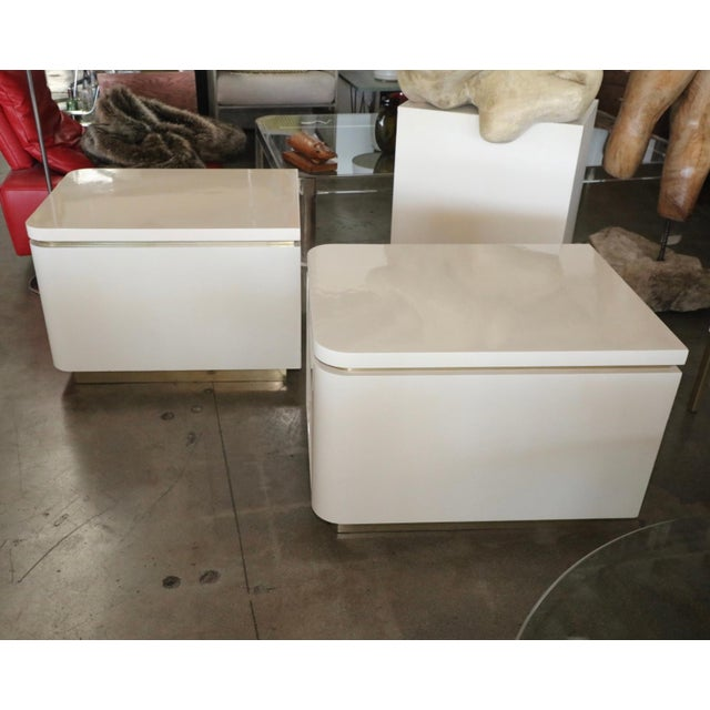 1980s Vintage Steve Chase Designed Lacquer and Brass Nightstands- A Pair For Sale - Image 11 of 13