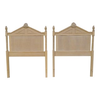 A Pair Lexington Twin Light Wood Faux Bamboo Shell Top Palm Beach Regency Headboards