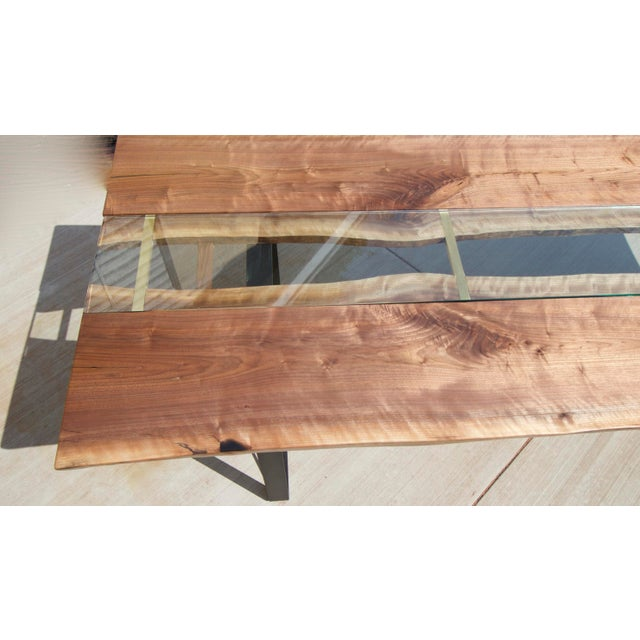 Contemporary Claro Walnut Slab Dining Table With Solid Brass Inlays + Glass River Center Display For Sale - Image 3 of 11