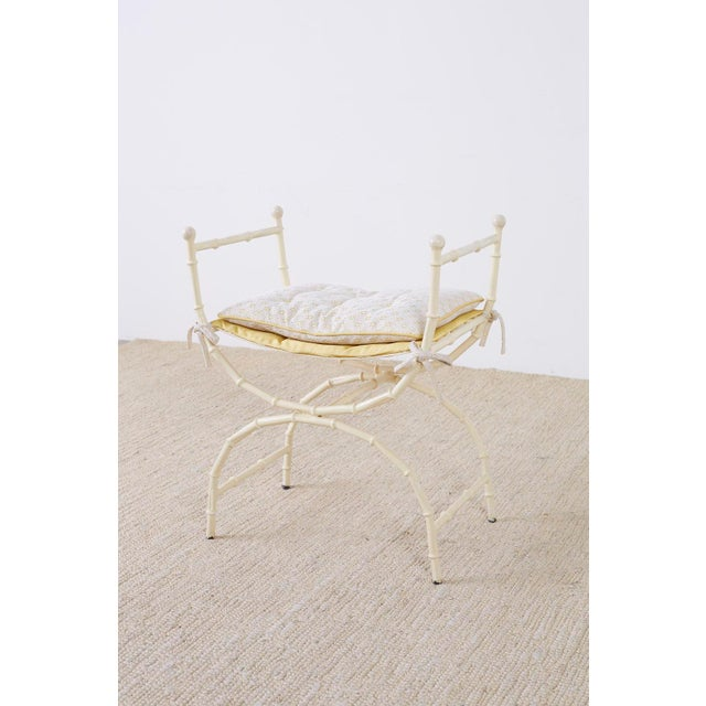 Mid-Century Modern Italian Faux Bamboo Vanity Stool or Bench For Sale - Image 12 of 13