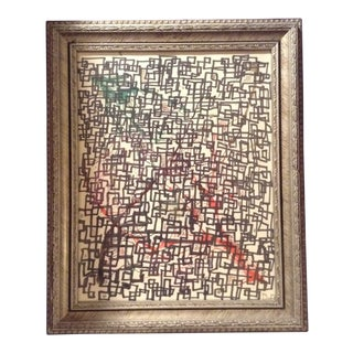 Post Modern Signed Drawing by Dufe 1961 Executed in Complicated Multi Layer Mixed Media Theme For Sale
