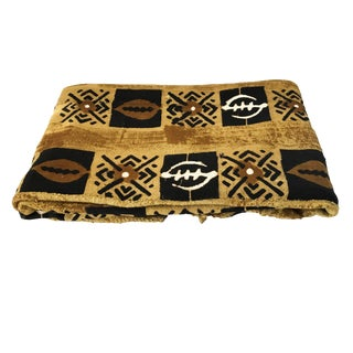 """Large Bogolan Mali Mud Cloth Textile 60"""" by 88"""" For Sale"""