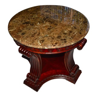 Traditional Round Marble Top and Carved Wood End Table For Sale