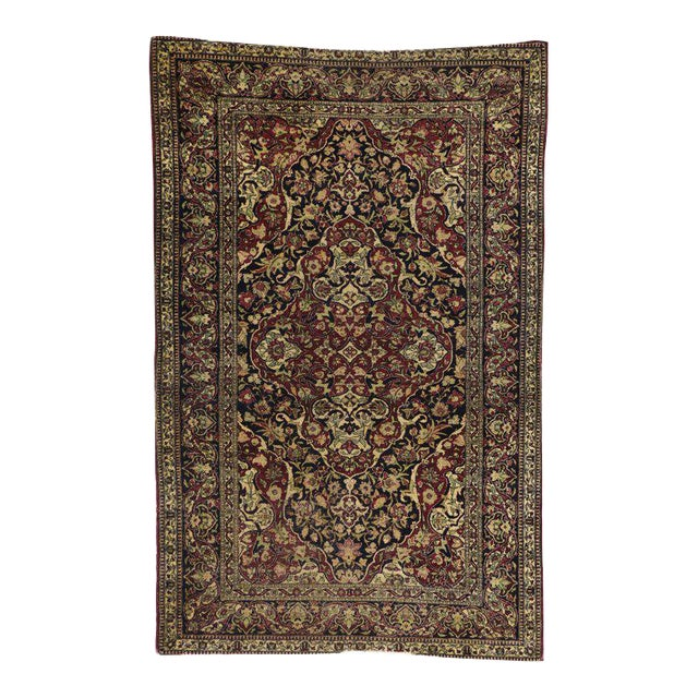 Antique Persian Kerman Rug with Traditional Style, Antique Kirman Persian Rug For Sale