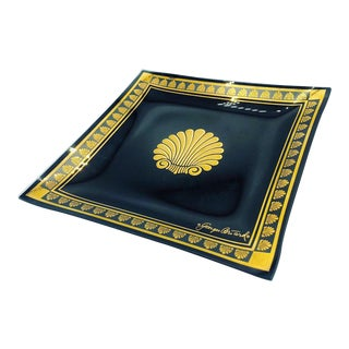 Hollywood Regency George Briard Black and Gold Glass Tray For Sale