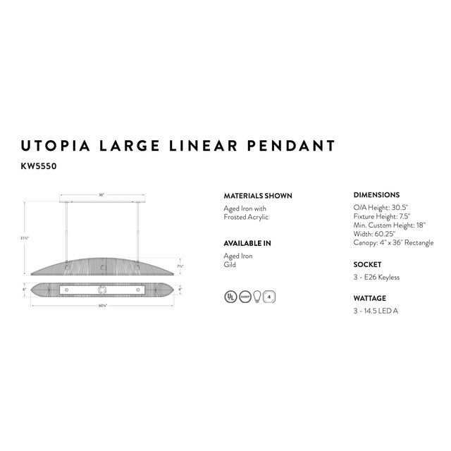 Mid-Century Modern Utopia Large Linear Chandelier Pendant For Sale - Image 3 of 4