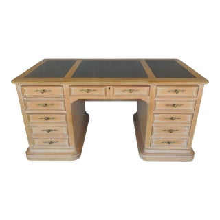 Hekman Raised Panel Tooled Leather Top Desk For Sale