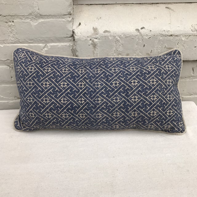 Woven Navy & Taupe Hmong Pillow - Image 2 of 4