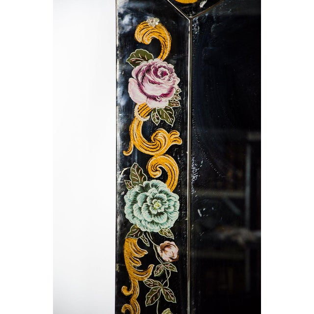 Glass Late 19th Century Antique Venetian Reverse Hand Painted Floral Wall Mirror For Sale - Image 7 of 13