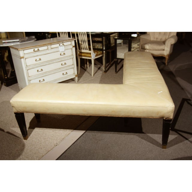 French Maison Jansen Leather L Bench For Sale - Image 3 of 6