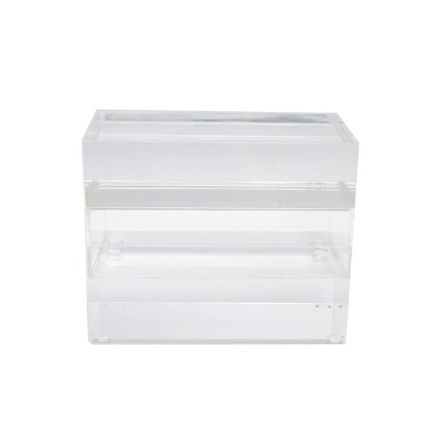 Contemporary Jewelry Box in Clear Lucite w/ Transparent Center Piece For Sale - Image 3 of 10